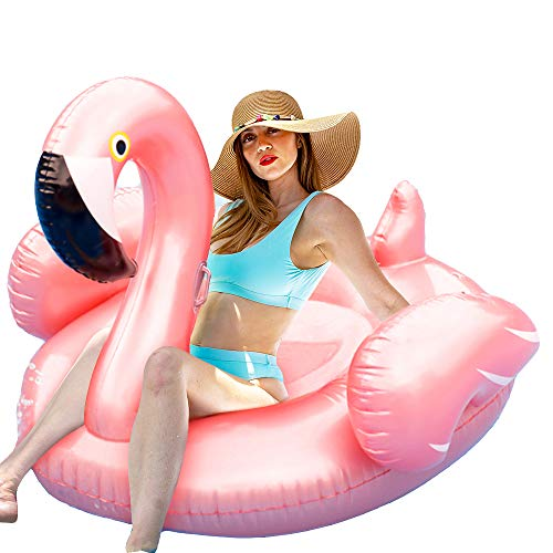 ComTec Flamingo Pool Float - Large Inflatable Pool Float Lounge raft for Summer Pool Party, Beach Toys, Swimming Pool, Ideal for Adults, Kids, Hostess Gift, Pink with Rose Gold Under -