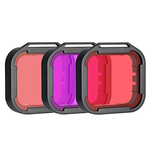 Neewer 3-Pack Kit Filtros Buceo para GoPro Hero 7/6/5 - Adjuntar a Carcasa Impermeable GoPro(No Incluida) - Mejorar Color...
