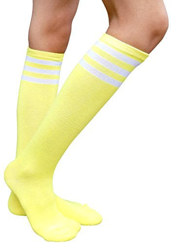 AM Landen Yellow with White Stripe Women's Casual Knee High Tube Socks Triple Stripe Crew Mid-Calf ()