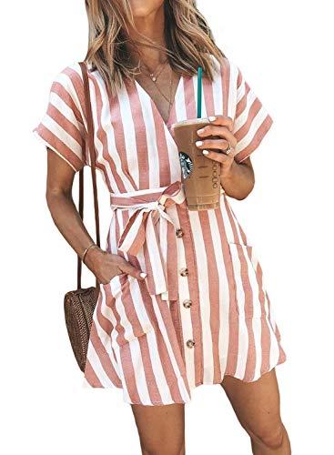 Sidefeel Women V Neck Stripe Short Sleeve Tie Waist Button Down Mini Dress Medium ()