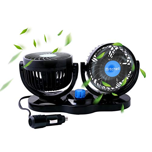 MAXTUF Car Fan, Dual Head Car Auto Cooling Air Fan 2 Speed 12V Cooling Air Circulator Low Noise 360 Degree Rotatable Sedan SUV RV Boat Auto Vehicles Golf Cart (Oval ()