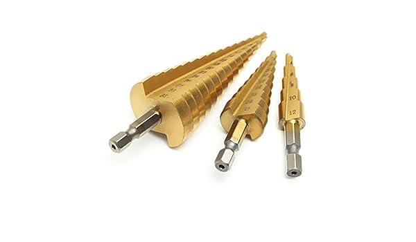 3Pcs Step Titanium Cone Drill Hole Cutter Bit HSS Set Tool With Pouch Hot