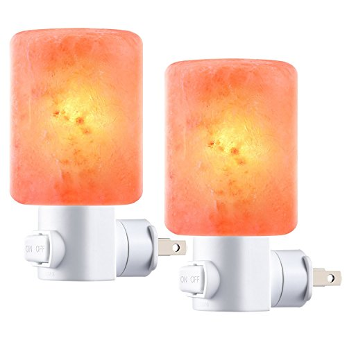 Himalayan Crystal Rock Salt Lamp, Natural Air Purifier, Mini Night Light with 4 Bulbs (2 Colorful), UL Approved Wall Plug for Air Purifying, Bedroom Decoration & Lighting (Cylinder-Shaped 2-Pack)