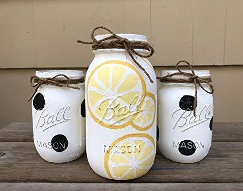 (Lemon Polka Dot Mason Jar Centerpiece Set/Polka Dot Mason Jars/Kitchen Decor/Lemon Mason Jars)