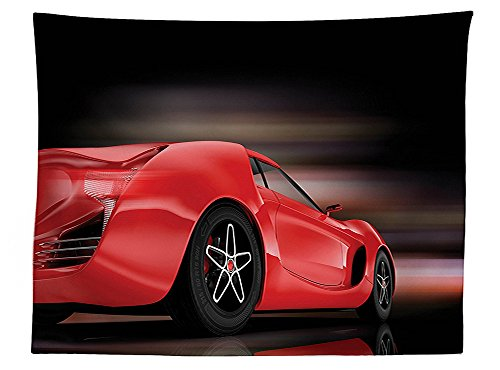 vipsung Cars Decor Tablecloth Rear View of A Futuristic Sports Car Motion Power Transportation Vehicle Sublime Motor Decor Dining Room Kitchen Rectangular Table Cover