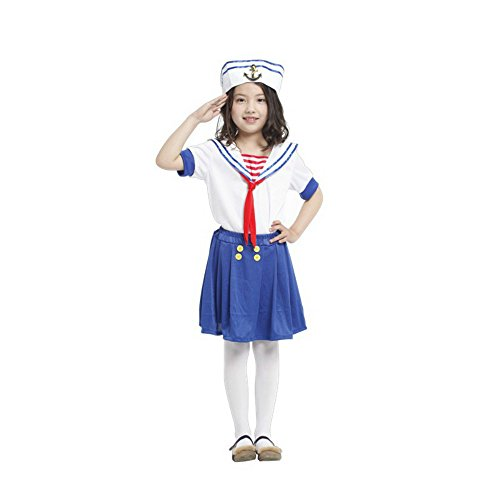 Halloween Christmas Sailor Suit Beach Queen Elegant Cute Baby Girl Cosplay Dress Ball Costume (Large)