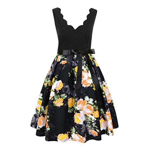 - Women Sleeveless Dress Ladies Fashion Printed Dress Print Vintage Flare Party and Evening Dress (S, Yellow)
