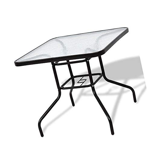 jn.widetrade Square Outdoor Bistro Table Metal Steel Frame with Glass Table Top for Backyard Swimming Pool Side Decor Patio & e-Book by jn.widetrade
