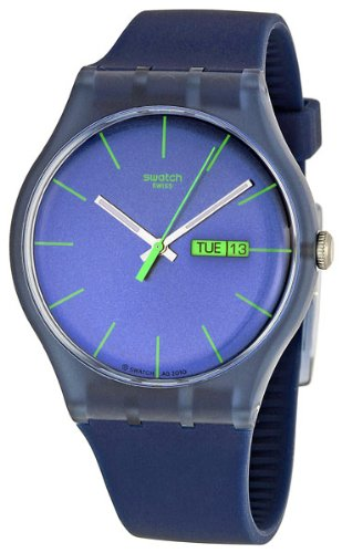 Swatch Men's SUON700 Quartz Navy Blue Dial Plastic Date  Luminous - Swatch Men For