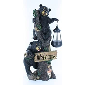 Large Black Bears Welcome Sign / Statue With Solar LED Lantern   Bear Cub  Decor