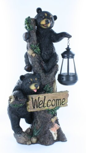 Large Black Bears Welcome Sign / Statue with Solar LED Lantern - Bear Cub (Bear Welcome Statue)