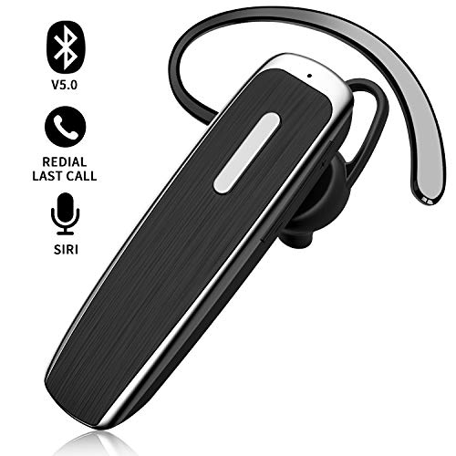 Bluetooth Earpiece for Cell Phone Link Dream Hands Free Bluetooth Headset with Mic 22Hrs Talktime Noise Cancelling Earpiece Compatible with iPhone Samsung Android Mobile Phones, Driver Trucker (Black) (Best Bluetooth Earpiece For Android)