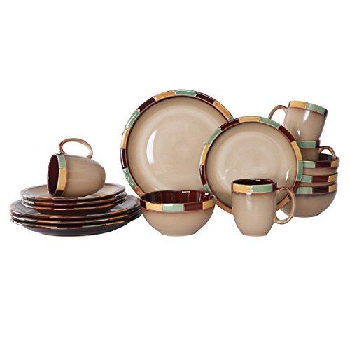 WHITEPEONY Bricks Teal 16-Piece Stoneware Dinnerware Set, Service for 4 (Rustic Stoneware Dinnerware Sets)
