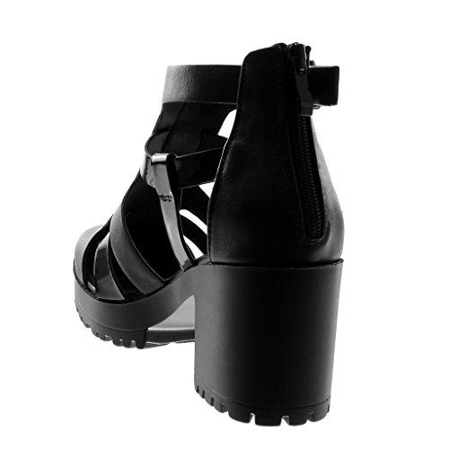 Donna Angkorly Gladiatore Scarponcini Sandali Moda bi Alto 5 Materiale Verniciato Briglia Fibbia Multi 7 Blocco Zeppe cm a Stivaletti Scarpe Tacco Nero xrn0zx