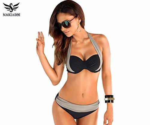 Walid-New Sexy Bikinis Women Swimsuit High Waisted Bathing Suits Swim Halter Push Up Bikini Set ( Plus Size: M )