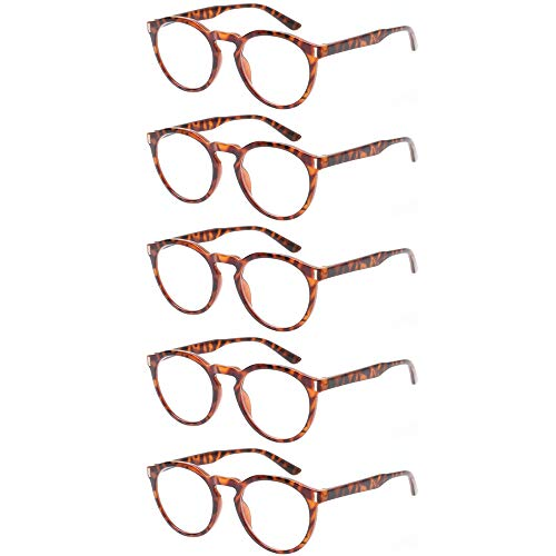 59fb91c223b8 Reading Glasses 5 Pack Fashion Large Round Readers Quality Spring Hinge  Glasses for Reading