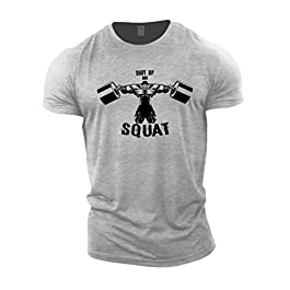 GYMTIER Mens Bodybuilding T-Shirt – Shut Up and Squat BB – Gym Training Top
