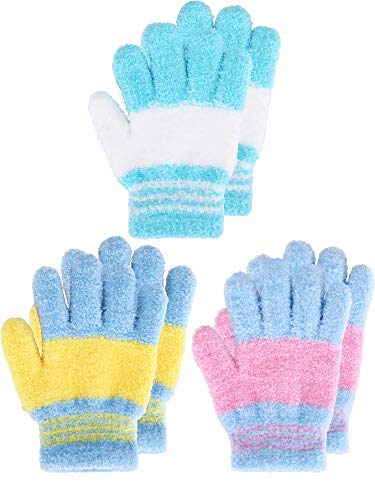 Kids Gloves Full Fingers Knitted Gloves Warm Mitten Winter Favor for Little Boys and Girls (Color Set 5, 7-11 Years Size, 3 Pairs)