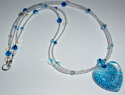 Silver Infused Aqua and Clear Murano Glass Heart Necklace ()
