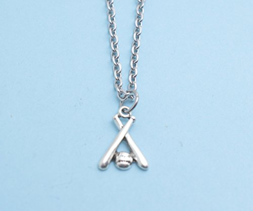 (Little Boys Baseball charm pendant in silver mixed metal on 16