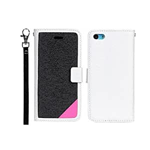 Mini - Elonbo J5F Fashion Candy Color PU Leather Flip Stand Case Cover for iPhone 5C , Color: White