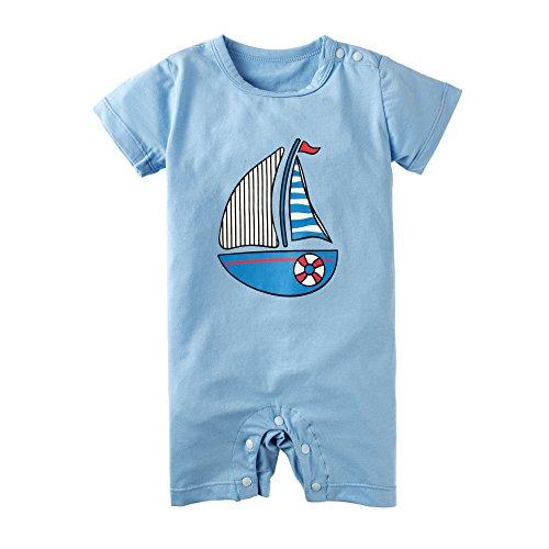 BIG ELEPHANT Baby Boys'1 Piece Graphic Print Short Sleeve Romper Jumpsuit Blue K45-66 3-6 Months