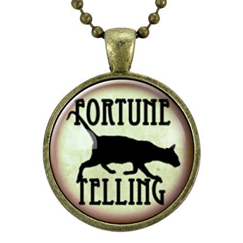 Fortune Teller Black Cat Necklace, Halloween Jewelry, Gypsy Pendant, Witch Necklace, Halloween Costume Accessories, Gothic -