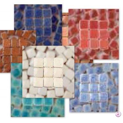 MosaicMicros 5 x 5 x 3 mm 10 g 100-Piece Ceramic Glazed Mini Mosaic Tiles, Light Yellow