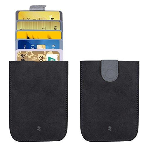 5A-AKKU Front Pocket Card Wallet Extendable 5 Card Slots Slim Card Holder With Coin Pocket Dark Grey (Front Slot Pocket)