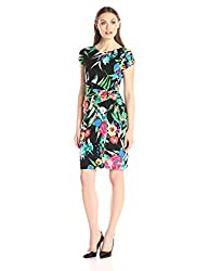 Ellen Tracy Women's Short Sleeve Side Knot Dress Ground Floral Print, Black/Multi, 4