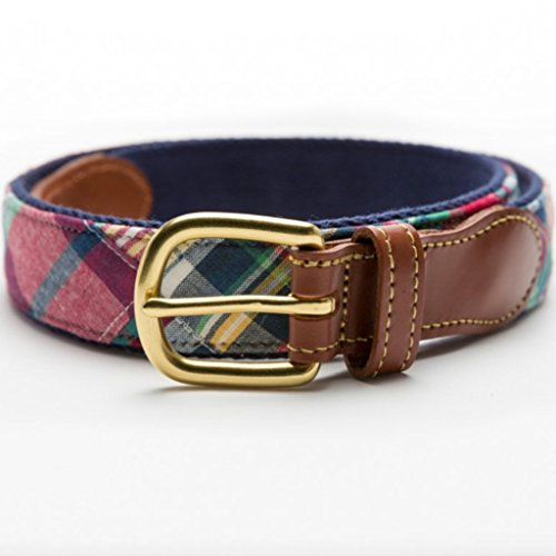 Patchwork Madras Leather Tab Belt- Block Island -