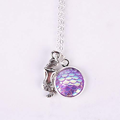- Mikash Brand New Mermaid Fish Scale Pendant Rainbow Holographic Sequins Charm Necklace | Model NCKLCS - 38664 |