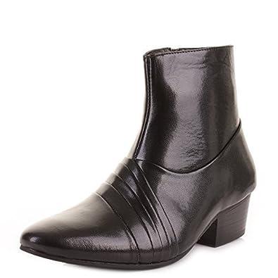 2ef6bf7341f9 Herren-Stiefelette, elegante, formelle schwarze Schuhe in Lederoptik, für  Hochzeit und formale