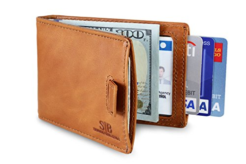 Bi Leather Distressed Fold (Travel Wallet RFID Blocking Bifold Slim Genuine Leather Thin Minimalist Front Pocket Wallets for Men Money Clip - Made From Full Grain Leather (Dark Caramel 3.0))