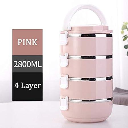 Fiambrera de Acero Inoxidable 304 térmica para Alimentos Fiambrera portátil para niños, Picnic, Oficina, Trabajadores, Escuela - JpA-4Layers-Pink