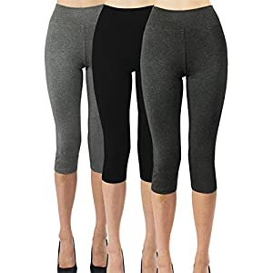 iLoveSIA 3Pcs Women's Capri 3/4 Leggings Size XL Black+Dark Grey+Heather Grey