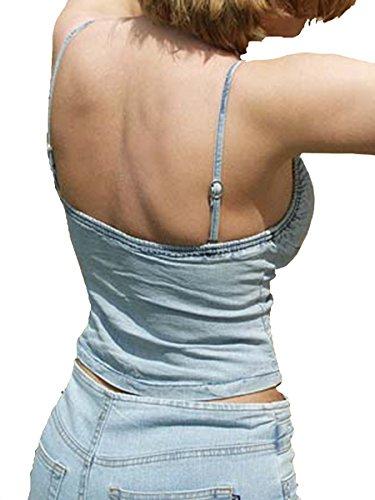 US Designer Mujer Jean Stop Jeans Corpiño con cordones de piel Bleached