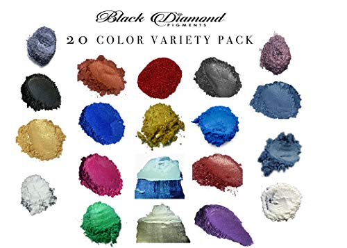 20 Color Variety Pack Mica Powder Pure, 2TONE Series Variety Pigment Packs (Epoxy,Paint,Color,Art) Black Diamond Pigments