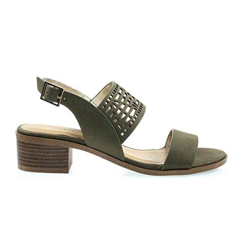 Sandalo Basso A Tacco Largo Sandalo Con Taglio Geometrico W Metallizzato Svelato Verde Oliva Chiaro