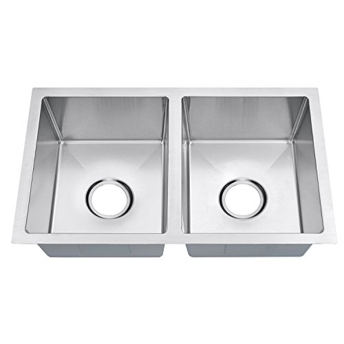(Primart Rv Series Handmade Double Bowl 18 Gauge Stainless Steel Undermount Kitchen Sink 50/50 Equal Modern, 27