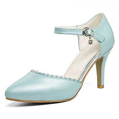 Talones de las mujeres Primavera Verano Otoño Otro PU Oficina boda y carrera vestido de tacón de aguja imitación de perlas Azul Rosa Blanco Blue
