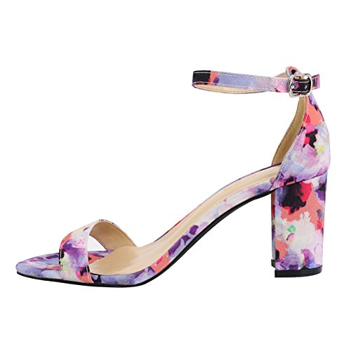Chunky Strap Floral Dress Heel Block Shoes Ankle Classic with Band Single Half Sandals Women's Eunicer Size High Large IPUTwxqn