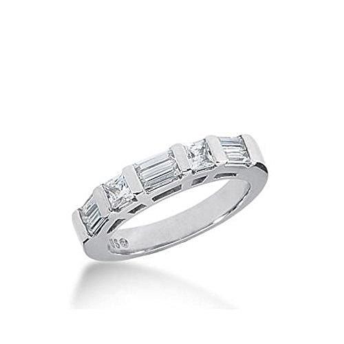 6 Diamond Baguette Stone Ring - 14k Gold Diamond Anniversary Wedding Ring 2 Princess Cut Stones, 6 Straight Baguette Diamonds Total 0.88ctw 604WR235814k - Size 7.75
