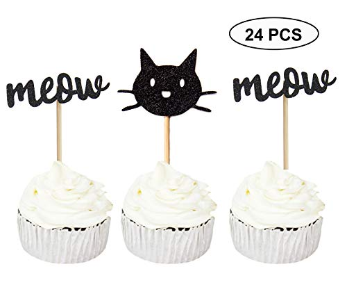 Sumerk 24PCS Kitty Cat Meow Cupcake Toppers Black Glitter Kitty Cat Cupcake Picks Party Decorations