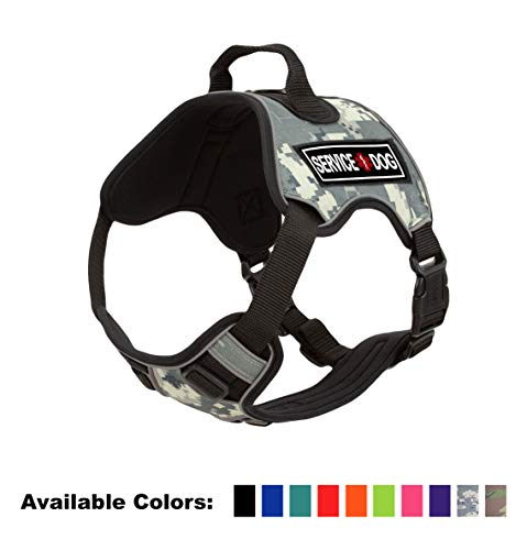 Dogline Quest No-Pull Dog Harness with 3D Rubber Service Dog Removable Patches Reflective Soft Comfortable Dog Vest with Quick Release Dual Buckles Black Hardware and Handle 25 to 31 inches Urban Camo Camo Reflective Vest Harness