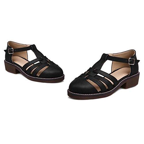 TAOFFEN Women's Gladiator T-Strap Court Shoes Black-31 gWmW7