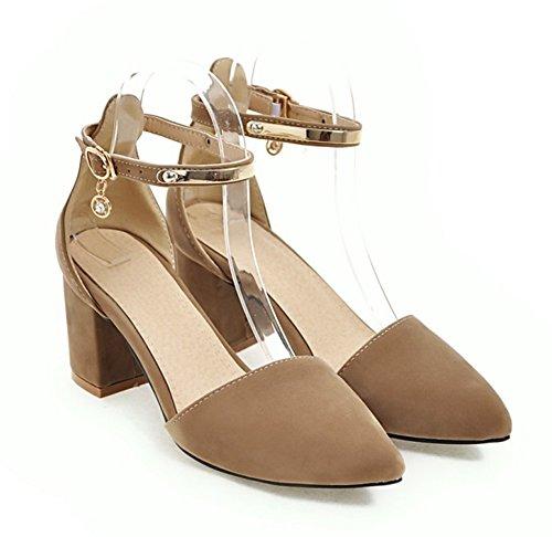 Aisun Womens Élégant Boucle Bloc Talons Moyens Dorsay Toe Fermé Sandales Chaussures Avec Des Sangles À La Cheville Beige