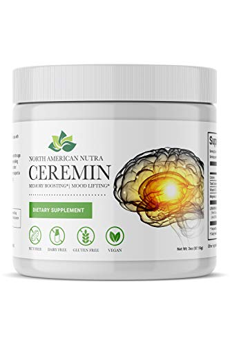 Curcumin Magnesium Citrate Brain Supplement - Ceremin by North American Nutra, a Gluten Free, Vegan, Stress Relief, Memory Vitamin that provides a Brain Boost and is a Natural Sleep Aid with B12