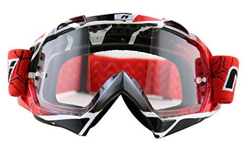 NENKI MX Dirtbike Motocross Goggles NK-1019 for Adult(Techline Red,Clear Lens)