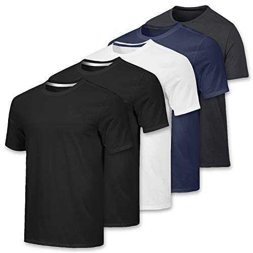 Men's Quick Dry Fit/Dri-Fit Short Sleeve Active Wear Training Athletic Essentials Crew T-Shirt Fitness Gym Workout Undershirt Top - 5 Pack,Set 4-L